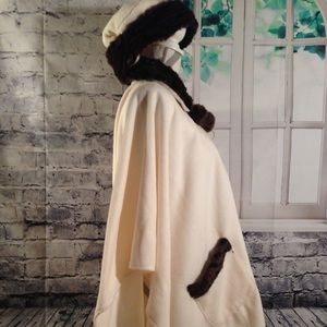 Midnight Velvet Faux Fur Trim Cape One size Fits Most Gloves and Hat INCLUDED